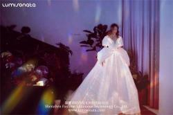 Optic fiber luminous evening dress wedding gown with train