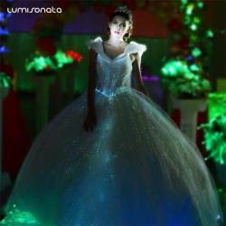 Glow-in-the-dark light up optic fiber evening dress ball gown Met Gala