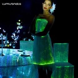 YQ-83 light up LED optical fiber dress