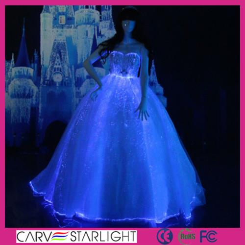 YQ-109 Luminous optical fiber strapless bodice gown