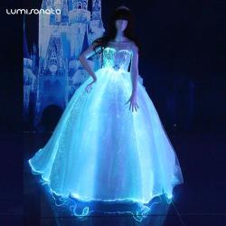 YQ-109 Luminous optical fiber strapless up-bodice gown