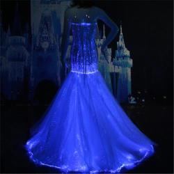 strapless lace trumpet wedding dress Glowing in the dark