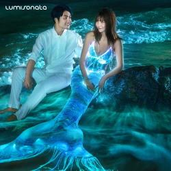 YQ-115 2017 new mermaid light up clothes fiber optic clothing