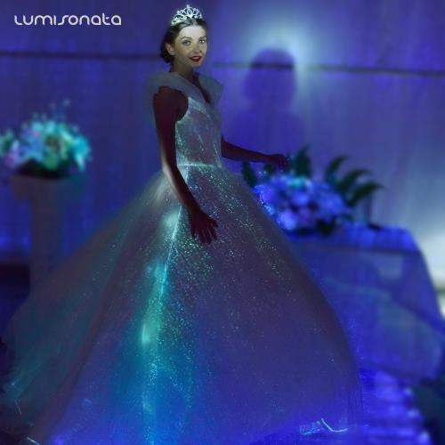 Luxury LED Luminous Fiber Optic Formal Dresses