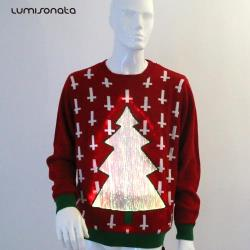YQ-89 LED Flashing Fashion Chinese Red Men Sweater