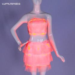 luminous top with skirt set