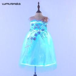 2018 kids princess dress with led lights