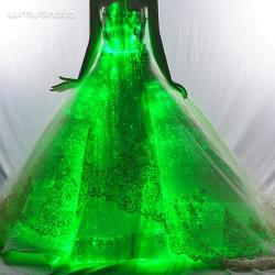 New fashion led fiber optic wedding dress