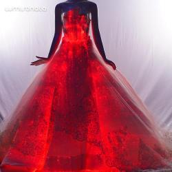 Luminous fiber optic wedding gown