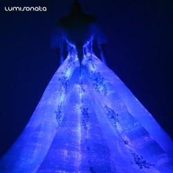 fiber optic Led bridal ball gowns wedding dresses