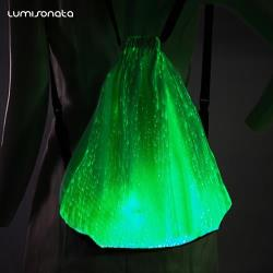 Luminous fiber optic backpack for music festival
