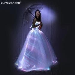 LED fiber optic luminous bridal wedding dress