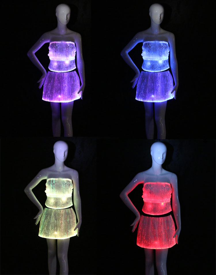 sexy top and skirt set, luminous clothing, led costume, sexy clubwear