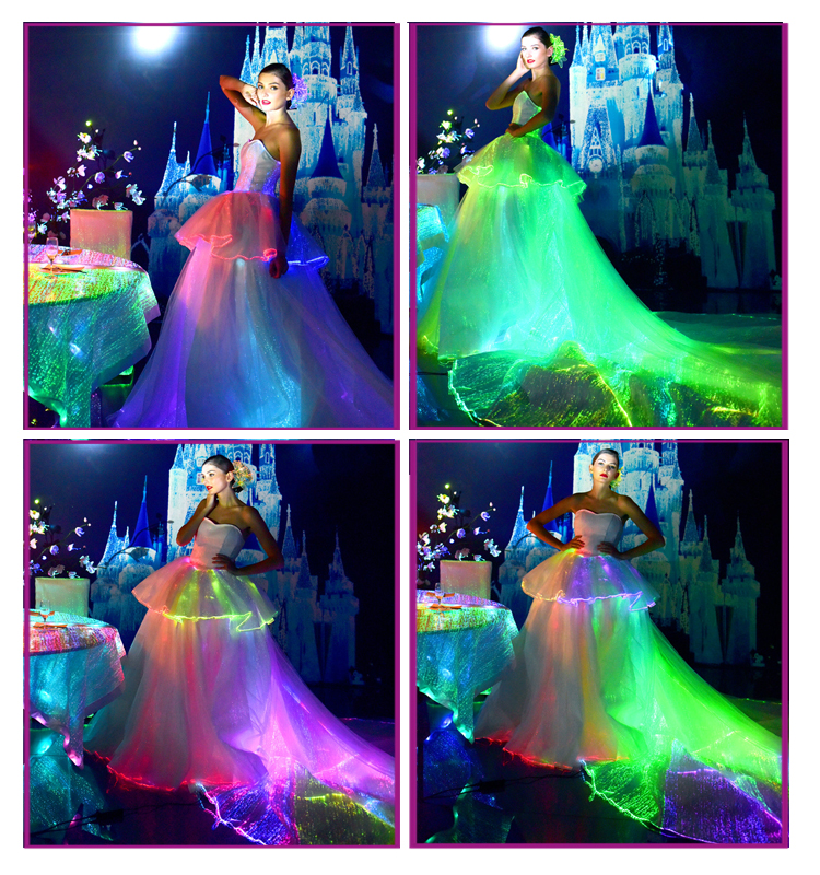 wedding dress evening dress train clothing light up glowing in the dark