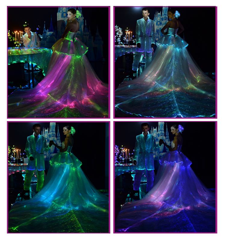 light up optic fiber fabric clothes wedding bridal dress swallow-tailed coat