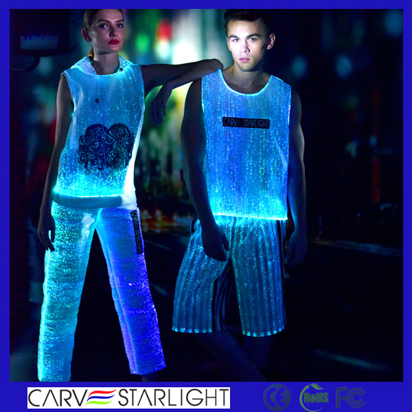 luminous optic fiber fabric tank top burning man festival