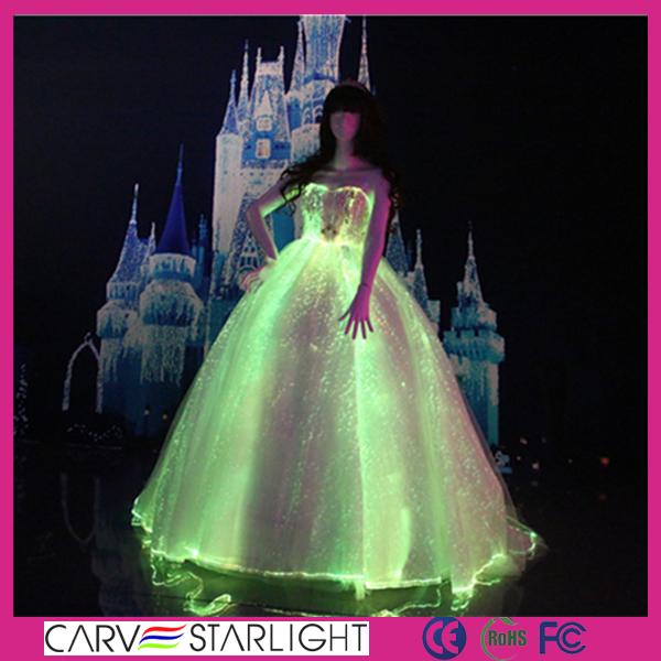 luminous optical fiber strapless up-bodice ball gown