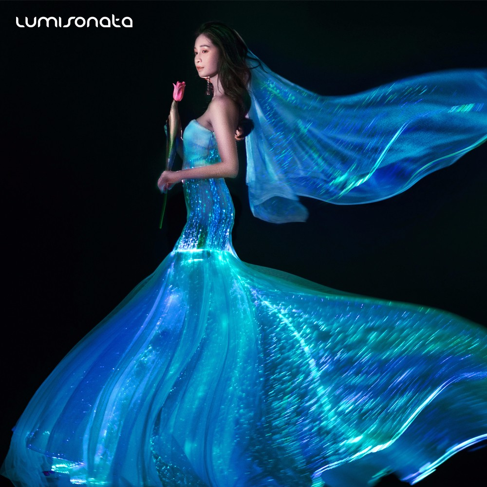 yq 112 2017 new light up dress gala dresses fiber optic dress