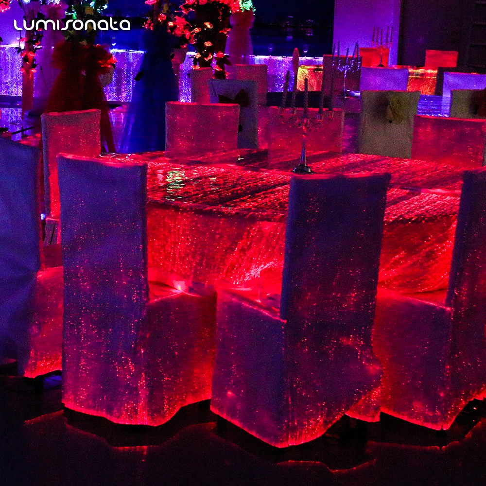 optic fiber luminous fabric table cloth,light up table cover