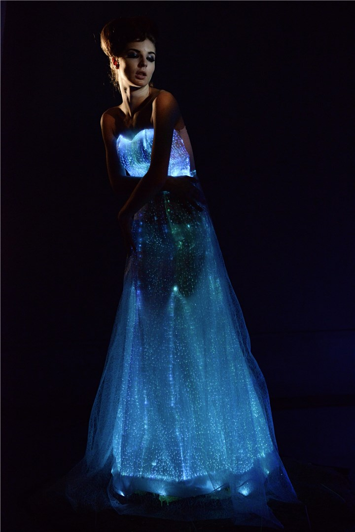Light up dress,luminescent led skirt, luminous fiber optic women dress