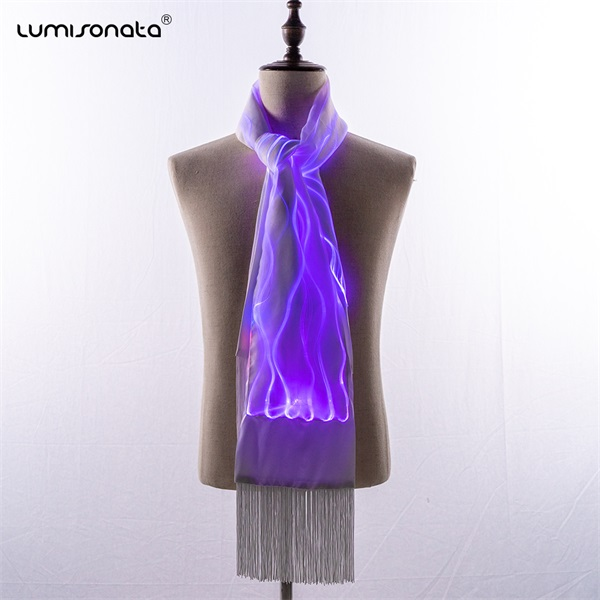 Light Up Fiber Optic scarf with color changeable led light
