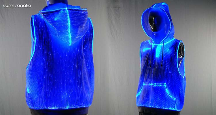 rave outfits rave clothing luminous hoodie,light up hoodie, led lighting hoodie