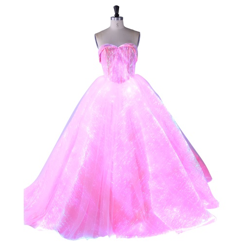New arrival Romantic Pink wedding dress with led light