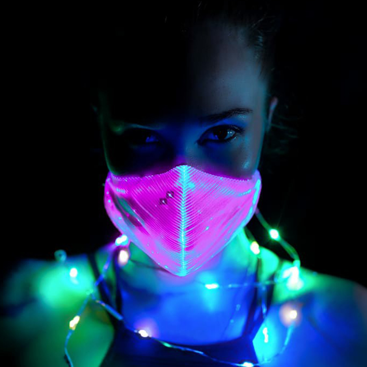 Christmas luminous light up carnival rave led face mask