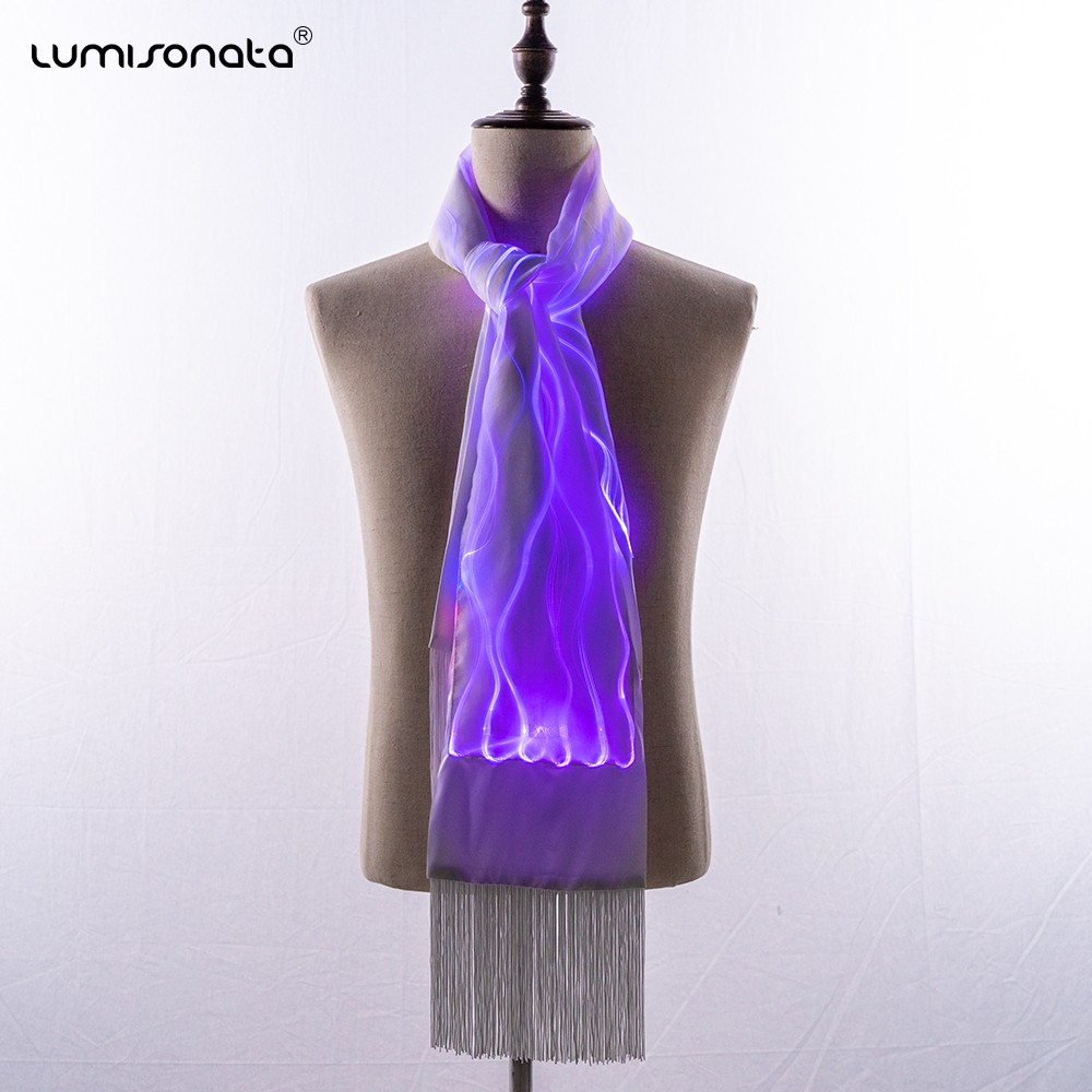 New arrival Scarf with Luminous Led Fiber Optical Fabric
